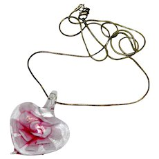 Lovely Pink Art Glass Floral Heart Pendant on Sterling Silver Snake Chain 24""