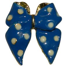 Demure Blue White Polka Dot Enamel Bow Pin