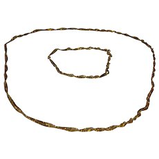 14K Gold Plated Twist Chain Necklace and Bracelet Set