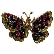Fabulous Trembler Butterfly Brooch Floral Sparkler