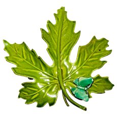"""Exceptional Enamel Giant Leaf with Butterfly Brooch 3"""""""