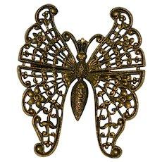 Elegant Filigree Butterfly Pendant Brooch