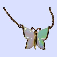 Elegant Opaque Rainbow Ceramic Butterfly Pendant Necklace