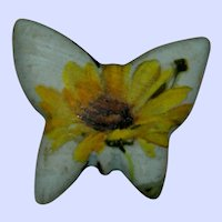 One of a Kind Ceramic Daisy Butterfly Brooch