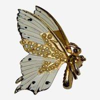Awesome Seed Pearl & Enamel Butterfly in Profile Brooch