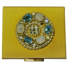 Bejeweled Wiesner of Miami Compact Powder Mirror in Original Box Never Used