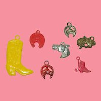 Collection of 7 Celluloid Cracker Jack Charms Horse Related Items