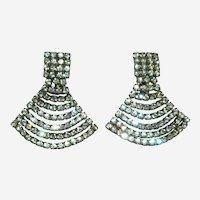 Art Deco Paste Stone Egyptian Revival SP Earrings