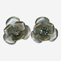 Silver Tone Rhinestone Big Floral Earrings