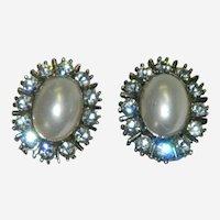 Spectacular High End Costume Faux Pearl Rhinestone Earrings