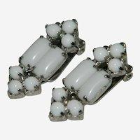 Sublime Milk Glass Clip Earrings