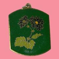 1970's Mod Green Cloisonne Flower Pendant