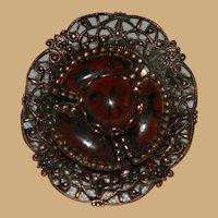 Copper Mystery Stone Filigree Brooch