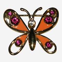 Bob Mackie Garden Butterfly Brooch Enamel Rhinestones Spring Collection