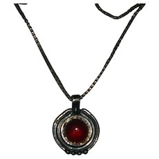 Sterling Silver Carnelian Pendant Marked G.G.