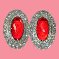 AMAZING Cherry Red Faceted & Paste Stone Art Deco Period Belt Buckles Stamped and Numbered