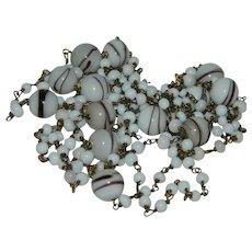 """Art Deco Flapper Girl Opera Length Czech Art Glass Beaded Necklace 54"""""""