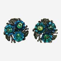 Spectacular Rivoli Azure Blue to Yellow Rhinestone Stone Earrings