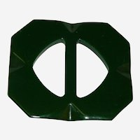 Art Deco Forest Green Bakelite Buckle or Scarf Clip