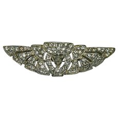 Fantastic Old Art Deco Paste Pot Metal Elegant Huge Brooch
