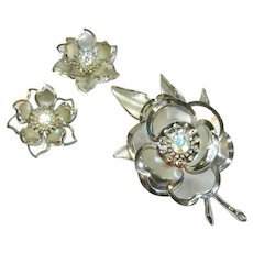 Smashing Huge Silver Tone Rhinestone Floral Brooch and Earring Set
