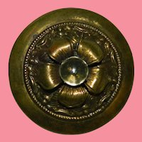 Victorian Brass Floral Fur Clip Unusual Stone