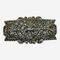 Estate Art Deco Marcasite Pot Metal Brooch