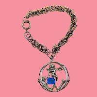 Coro Pat Pending Adolph Katz September Birthstone Cherub Angel Large Charm Bracelet