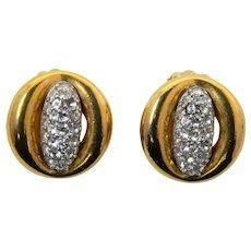 Givenchy 1977 Runway Rhinestone Gold Plated Earrings Paris New York