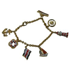 High End Cruise Ship Jewelry Charm Bracelet Gold Plated Enamel Crystals