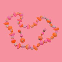 Hong Kong Import Florescent Pink and Orange Beaded Necklace and Earring Set
