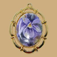 Rich Purple Porcelain Transferware Lily Brooch and Pendant