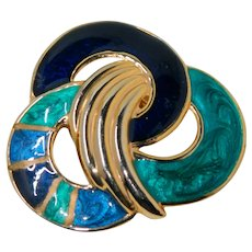 Amazing Large Teal Royal Blue and Gold Guilloche Enamel Belt Buckle