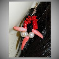 One of a Kind by Jackie O ~ Genuine Coral Fresh Water Pearls Earrings