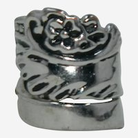 Pretty Spoon Ring Silver Plated sz 4