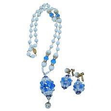 Vendome Best Milk Glass Blue Crystal Beaded Necklace & Earring Set Pristine!