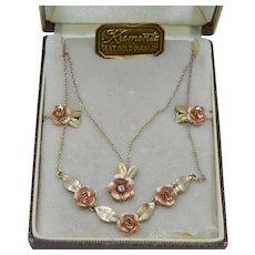 Krementz Boxed 14k Rose Green Yellow Gold Overlay Rose Double Necklace & Earring Set Original Box