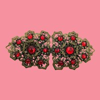 Showy Blood Red Glass Cab Stamped Brass Filigree Belt Buckle