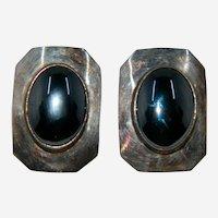 Bea Tom Navajo Native American Hematite Sterling Silver Pierced Earrings