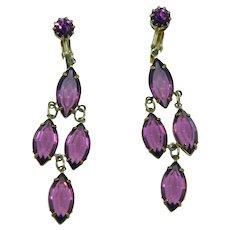 My Favorite Purple Bezel Set Chandelier Dangler Earrings