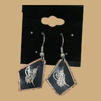 Unique Copper Enameled Etched Dangler Earrings