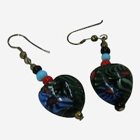 Art Glass Onyx, Turquoise and Coral Beaded Pierced Heart Earrings