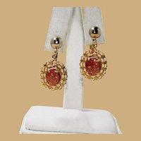 Lovely Filigree Gold Stone Dangler Earrings