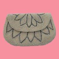 Excellent Hand Beaded Lotus Flower Evening Clutch Bag Hand Bag Silk Lined