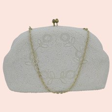 Pearl White All Glass Seed Beaded Hand Bag with Gold Tone Chain Handle Japan