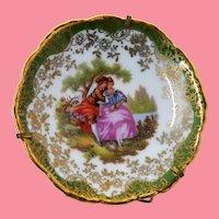 Limoges France Porcelain Miniature Plate Romantic Scene Hand Paint