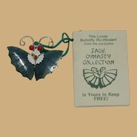 Jade Dynasty Butterfly Coral Beaded Eyes Brooch and Pendant with Original Booklet