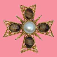 Gorgeous Givre Art Glass Stone Maltese Cross Brooch and Pendant