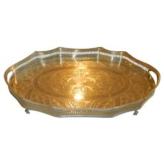 English Sheffield Silver Over Copper Reticulated Footed Serving Tray w/Handles