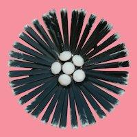 Black and White Enamel Flower Power Brooch Milk Glass Stones